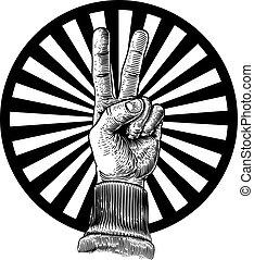 dialdal cégtábla, kéz, béke