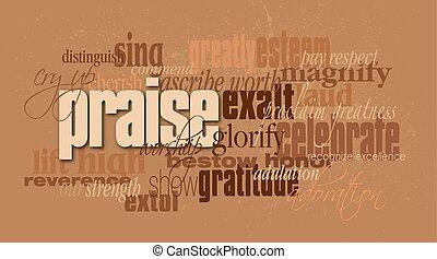 dicsér, keresztény, szó, montázs