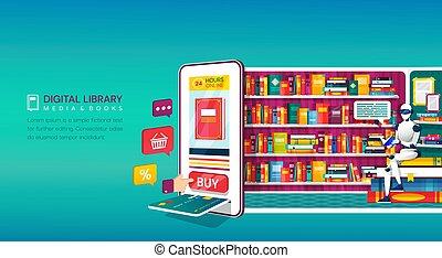 digitális, bevásárlás, könyvtár, online, fogalom