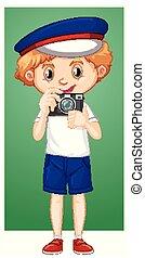 digitális, boldog, fényképezőgép, fiú