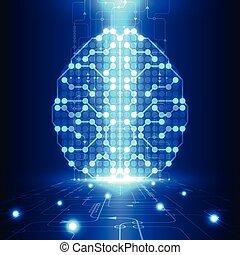 digitális, elvont, technológia, áramkör, agyonüt, fogalom, elektromos