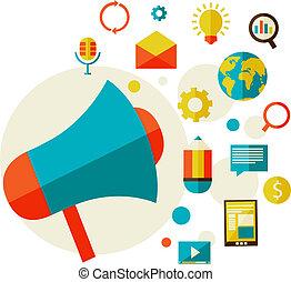 digitális, fogalom, marketing