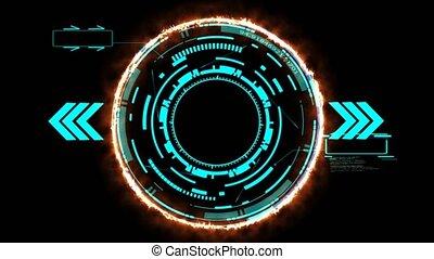 digital technology, elbocsát, erő, cserél, nyíl, határ, lézer, holographic, kék, két, parázslás, callout, piros, elem, hangsúly, hatás, numeric, energia, futuristic