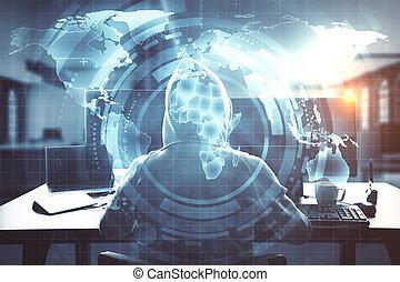 digital világ, használ, hacker, számítógép, térkép