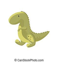 dino, elszigetelt, csinos, tyrannosaurus., dinoszaurusz, történelem előtti, csecsemő, zöld, lakás, fehér, ábra, háttér., vektor