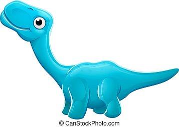 dinoszaurusz, apatosaurus, karikatúra, csinos