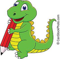 dinoszaurusz, boldog, karikatúra, írás
