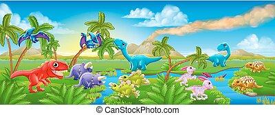 dinoszaurusz, csinos, színhely, táj, karikatúra