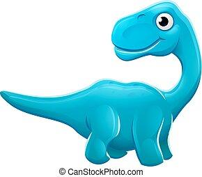 dinoszaurusz, sauropod, karikatúra, csinos