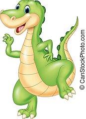 dinoszaurusz, zöld, karikatúra