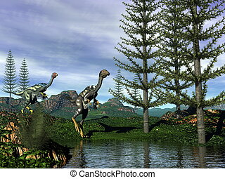 dinoszauruszok, -, caudipteryx, render, 3