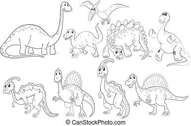 dinoszauruszok, különböző, írógépen ír