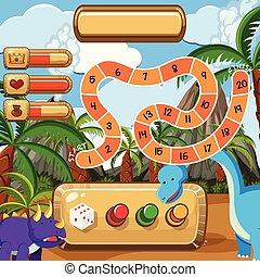 dinoszauruszok, sablon, boardgame