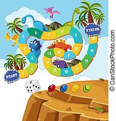 dinoszauruszok, tervezés, sablon, boardgame