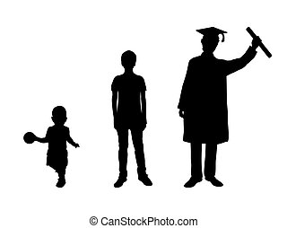 diplomás, árnykép, kölyök, fiú, feláll., felnövés, fiatalember