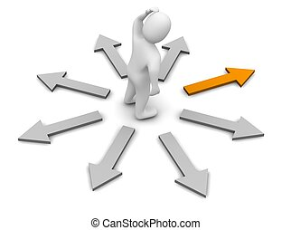 direction., viszonoz, illustration., helyes, kiválaszt, 3