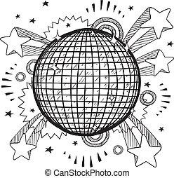 disco labda, vektor, váratlanul