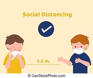 distancing, korona, oltalmaz, társadalmi, vírus