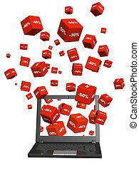 diszkont, laptop, ingóságok, dobozok, piros