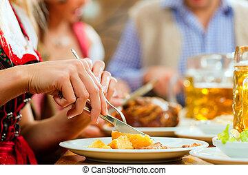 disznóhús, étkezési, étterem, bajor, emberek, sült