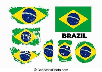 divatba jövő, ábra, háttér., fehér, brazília, lakás, mód, lobogó, vektor