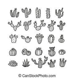 divatba jövő, vektor, dezertál, azt, illustration., bélyeg, kaktusz, vagy, monó, levelezőlap, állhatatos, használt, -, menstruáció, körvonalazott, lenni, kaktusz, print., mód, deco., withoup, konzerv, művészet, egyenes, pots.