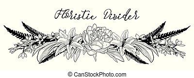 divider., elem, vektor, finom, szöveg, tervezés, virágos, virág