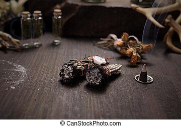 divination., tisztítás, power., öntés, füvek, varázslatos