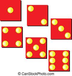 dobókocka, ábra, piros