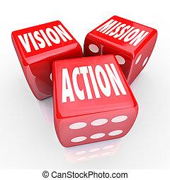 dobókocka, három, stratégia, piros, akció, misszió, látomás, gól
