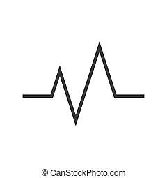 dobog, szív, kardiogram, lakás, ikon