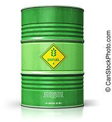 dobol, biofuel, elszigetelt, zöld háttér, fehér