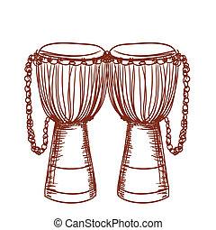 dobol, fából való, djembe, kéz, afrikai, húzott