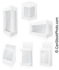 doboz, állhatatos, ikonok, ábra, csomagolás, vektor, áttetsző