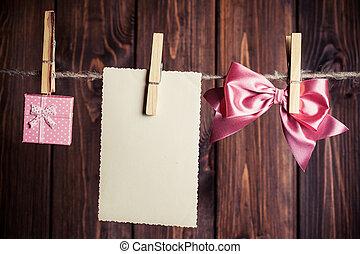 doboz, ív, tehetség, clothesli, íj, dolgozat, függő, kicsi, öreg