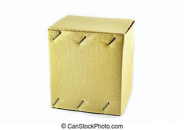 doboz, barna, összetűz, csomag, /, dolgozat, csukott, kartonpapír
