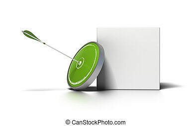 doboz, céltábla, felett, üzenet, nyíl, írás, zöld háttér, fehér, kép