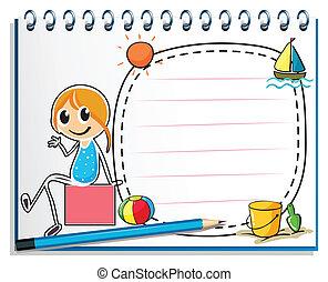 doboz, ceruza, ülés, kép, ábra, jegyzetfüzet, háttér, leány, fehér