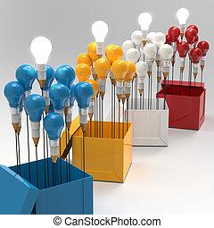 doboz, ceruza, fogalom, fény, gondolat, kreatív, kívül, vezetés, gumó, rajz, gondol