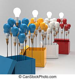 doboz, ceruza, fogalom, fény, gondolat, kreatív, kívül, vezetés, gumó, rajz