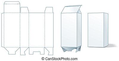 doboz, die-stamping, kartonpapír, -, gyártás