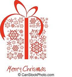 doboz, elkészített, hópihe, piros, christmas ajándék