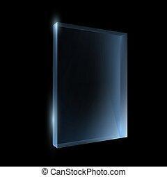 doboz, elszigetelt, pohár, black háttér, üres