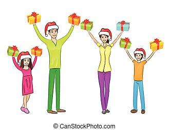doboz, emelt, ünnep, tehetség, család, fegyver feláll, kézbesít, befolyás, karácsony, boldog