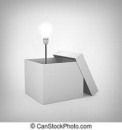 doboz, fény, kívül, fogalom, gumó
