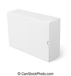 doboz, fehér, kartonpapír, template.