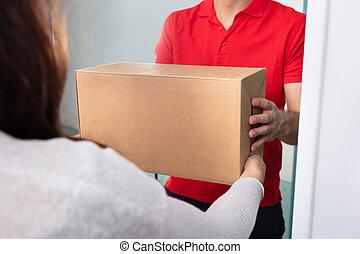 doboz, felszabadítás, bevétel, nő, ember