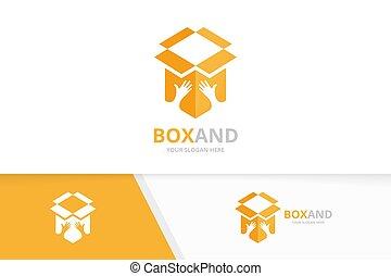 doboz, felszabadítás, combination., csomag, jel, jelkép, logotype, vagy, befog, vektor, tervezés, kézbesít, megragad, icon., egyedülálló, barátság, template.