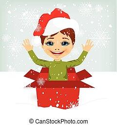 doboz, fiú, tehetség, belső, érkező, karácsony, ki