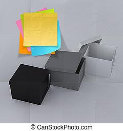 doboz, gyűrött, fogalom, gondolkodó, kellemetlen hangjegy, kívül, dolgozat